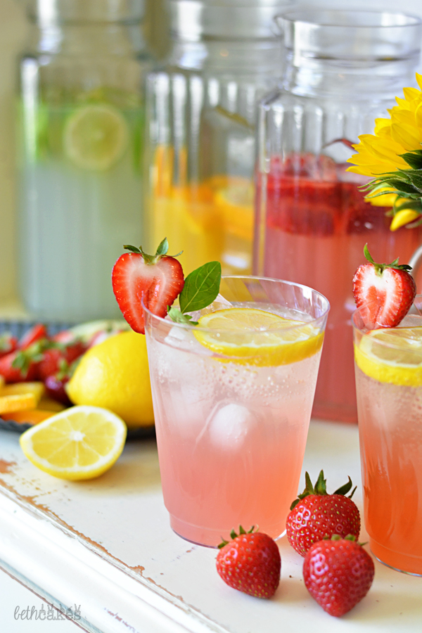 DIY Sparkling Cocktail Bar - Sparkling Strawberry Basil Lemonade // bethcakes.com