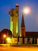 Blue Moon Over Tower of History and St. Mary's Catherdral - Sault Ste. Marie - Michigan