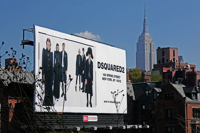 DSQUARED2 Billboard at Edison Park Fast & Empire State Building NHL & NHP as seen from The High Line in Chelsea in New York City, NY