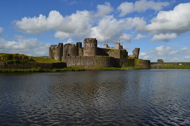 This is a picture of Caerphilly Castle and the moat surrounding it