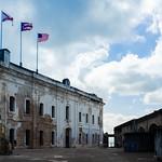 Image of Castillo San Cristóbal near San Juan. puertorico fort courtyard flags sanjuan pr castillodesancristóbal