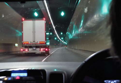 1820 Night drive across North Wales - in the A55 'Pen-y-Clip' tunnel