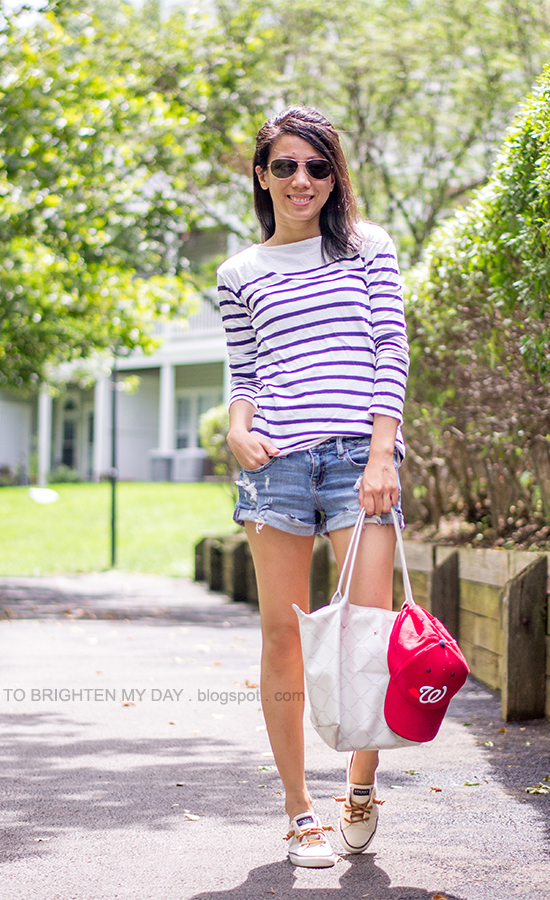 striped tee, distressed shorts, boat shoes, red cap, white tote