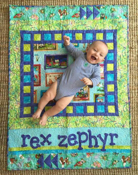 Baby Rex on his Lullaby Lane quilt