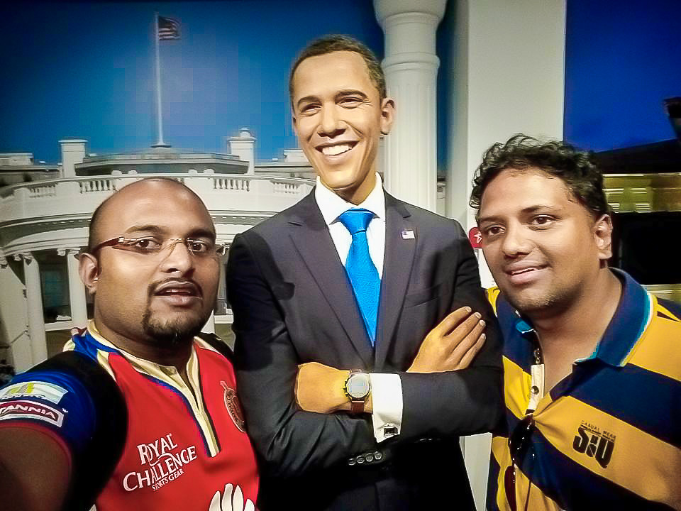Hrish Thota Nivedith Gajapathi with Barrack Obama Wax Statue