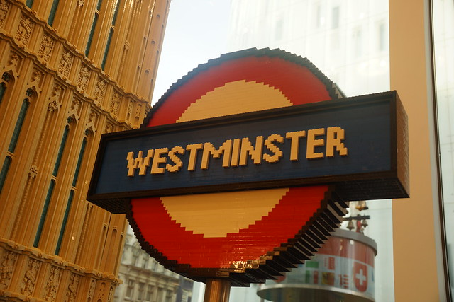 Westminster Underground Sign, LEGO Store, 3 Swiss Court, Leicester Square, City of Westminster, London