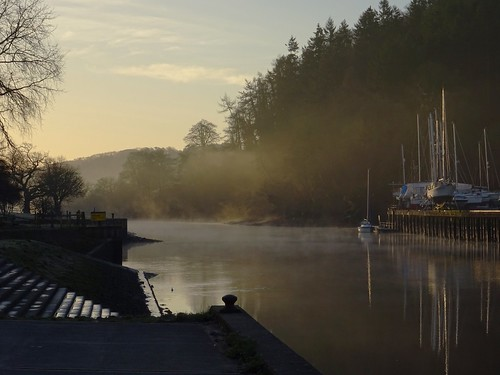 mist river dart totnes devon uk morning