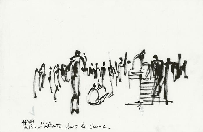 L'Attente pendant les négociations. Occupation de la caserne. Migrants de la Chapelle et d'Austerlitz. Paris, 11 juin 2015 © Laura Genz