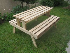 bench, outdoor furniture, furniture, wood, table,