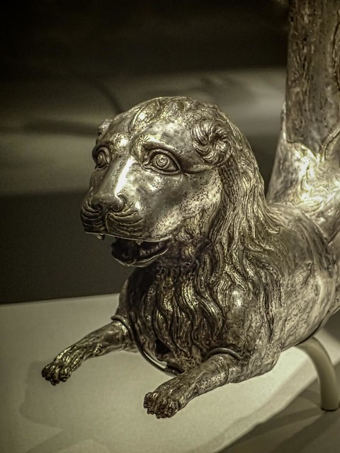 Closeup of a Parthian Wine Horn with Lion Protome Iran 1st century BCE - 1st century CE Silver and Gilt