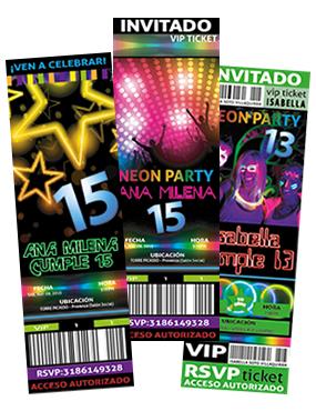 Ticket Fiesta Fiesta Luces De Neon Invitaciones A Fiestas De