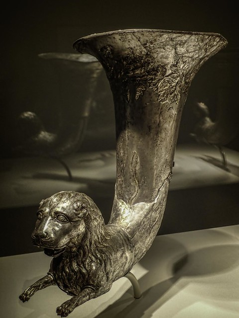 Parthian Wine Horn with Lion Protome Iran 1st century BCE - 1st century CE Silver and Gilt