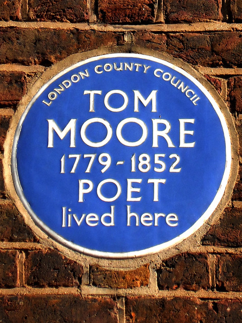 Thomas Moore blue plaque - Tom Moore 1779–1852 poet lived here