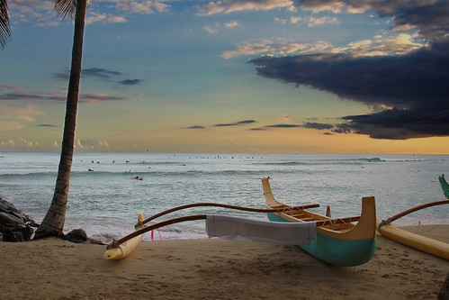ocean sunset beach water clouds sand waikiki canoe outrigger