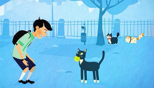 walking-cat-dog-tennis-ball
