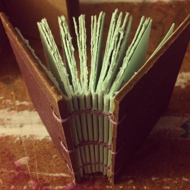 Miniature Coptic Bound Book 3 x 2 7/8 inches #bookbinding #bookarts #books #copticbinding #handmadebooks #handboundbooks