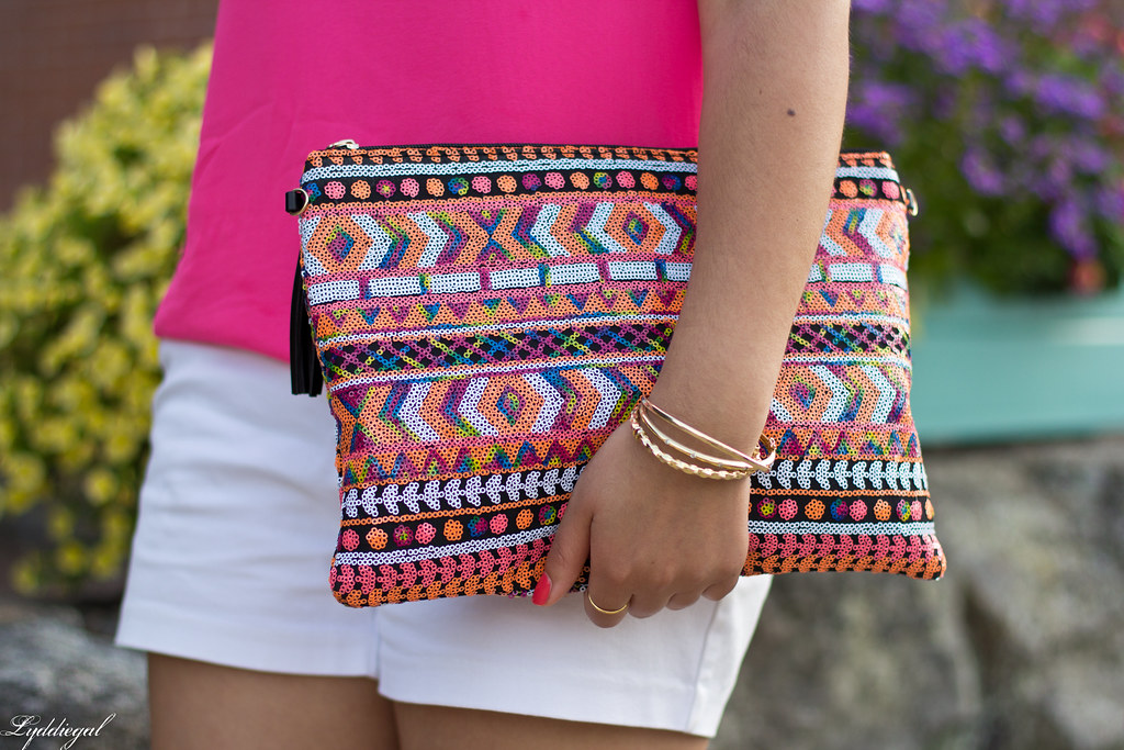 pink tank, white shorts, aztec sequin clutch-6.jpg
