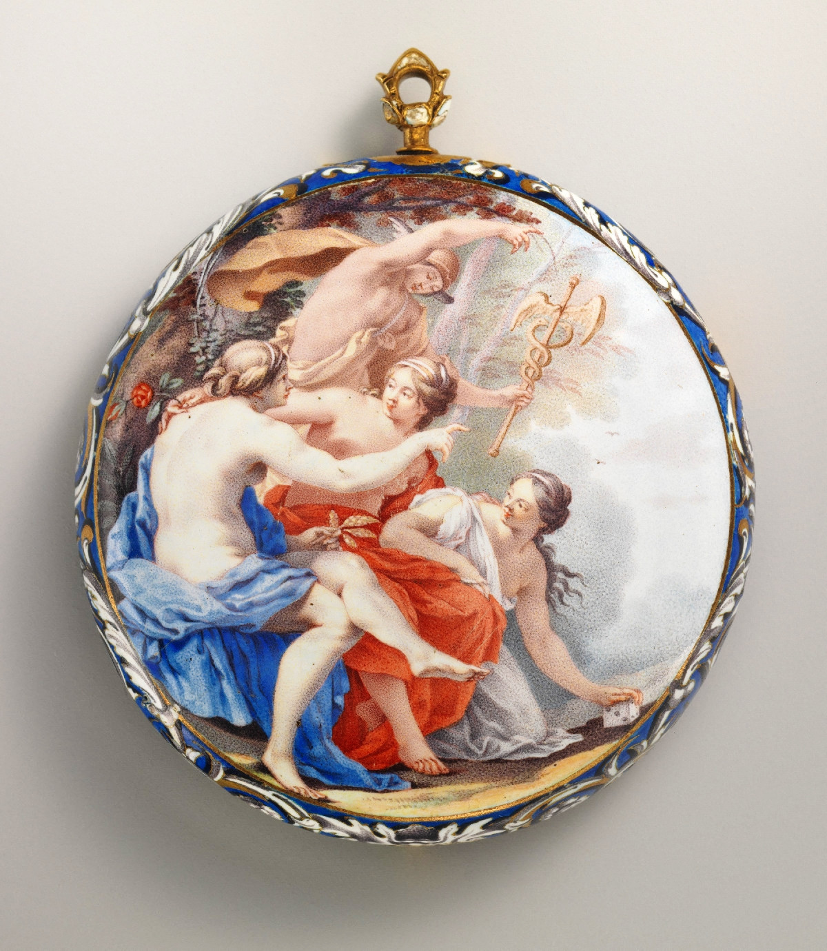 1645. Watch. French, probably Paris case with Dutch, The Hague watch. Case and dial enameled gold; Movement gilded brass and steel, partly blued. metmuseum