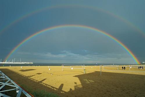 sea landscape seaside rainbow poland baltic fujifilm sopot xe2
