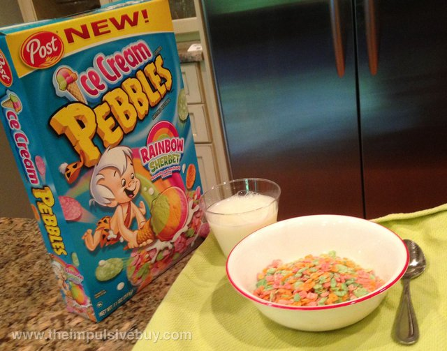 Post Rainbow Sherbet Ice Cream Pebbles Cereal Breakfast