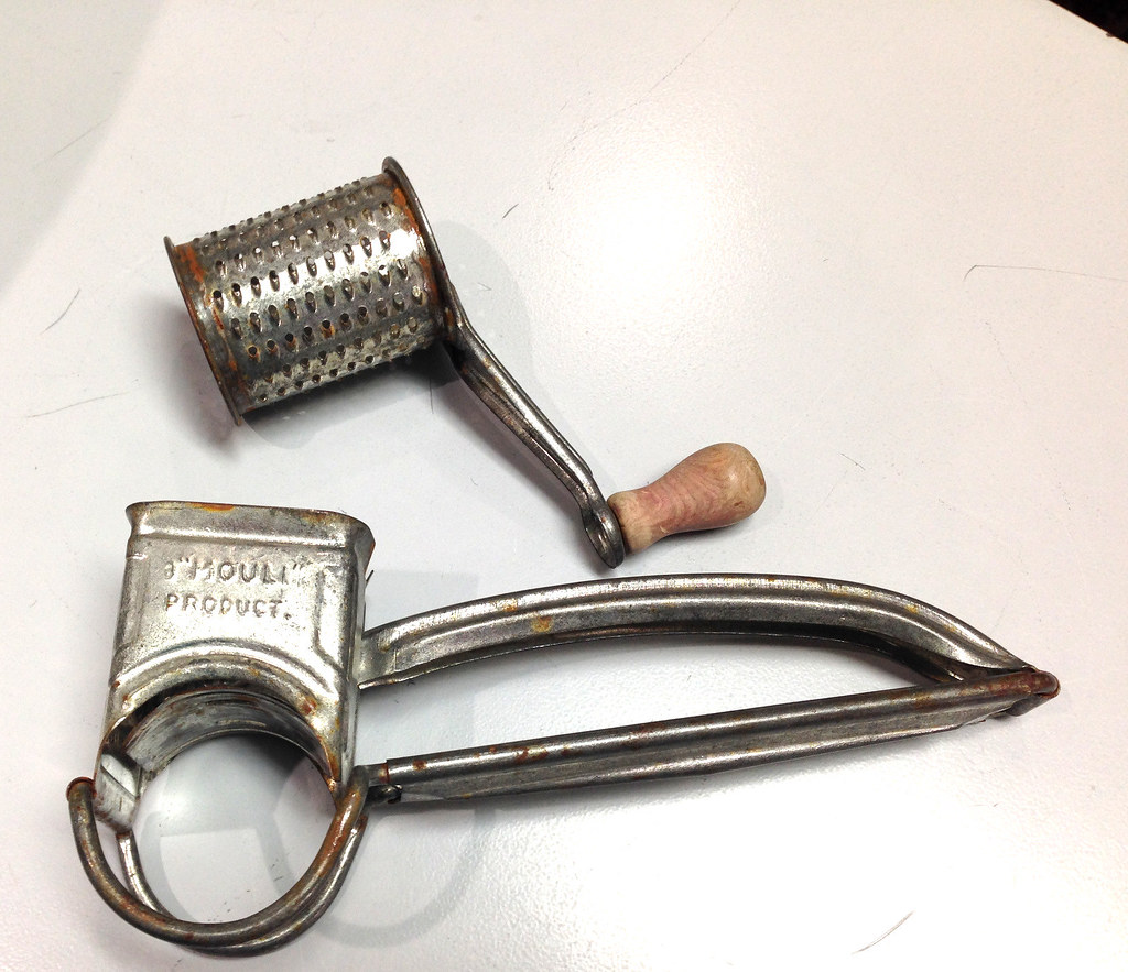 Vintage Crank Cheese Grater : Vintage mouli cheese grater w red wooden crank handle made