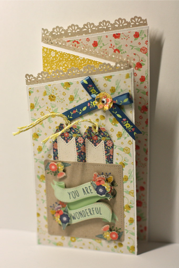 Folk Floral Z fold card by StickerKitten