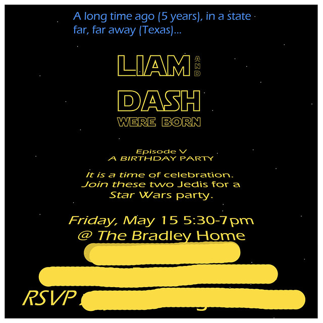 liam dash 5th birthday invitation censored