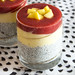 Chia pudding with strawberries and mango.