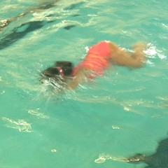 "She gets so into the ""big arms"". #swimming #lesson #pool"
