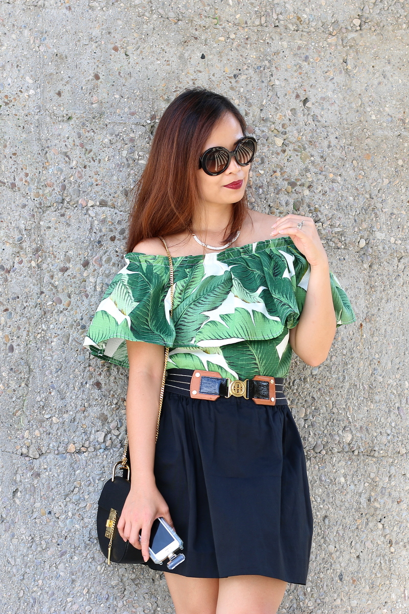 Palm-leaf-print-off-shoulder-black-skirt-2