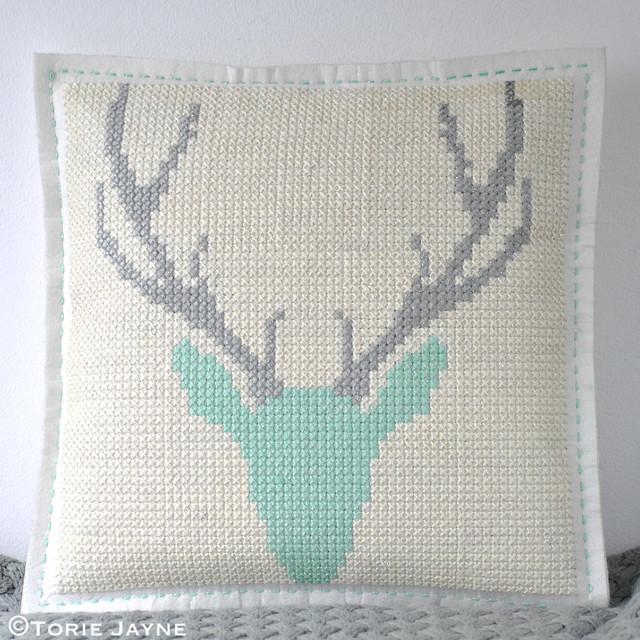 DIY cross stitch cushion