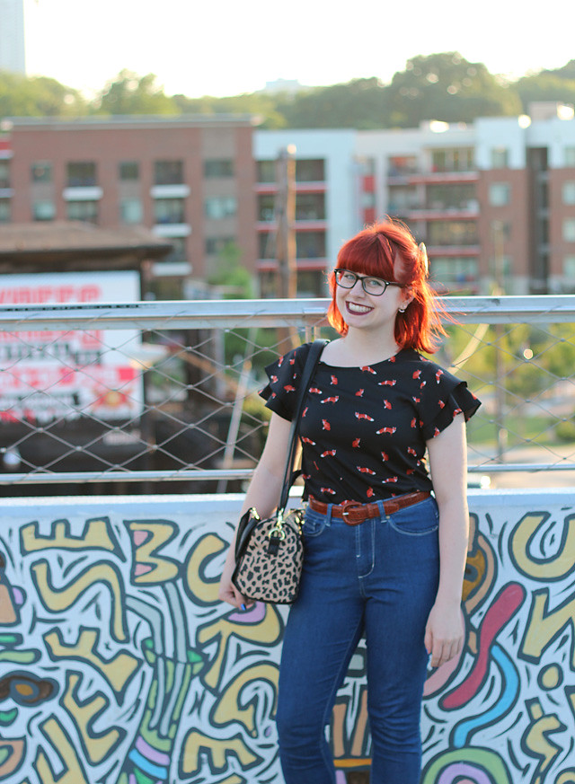 Red Hair, Glasses, Fox Print Shirt, and High Waisted Jeans