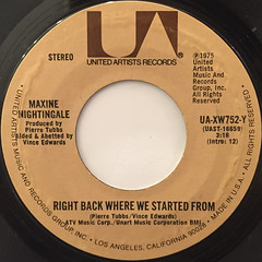 MAXINE NIGHTINGALE:RIGHT BACK WHERE STARTED FROM(LABEL SIDE-A)