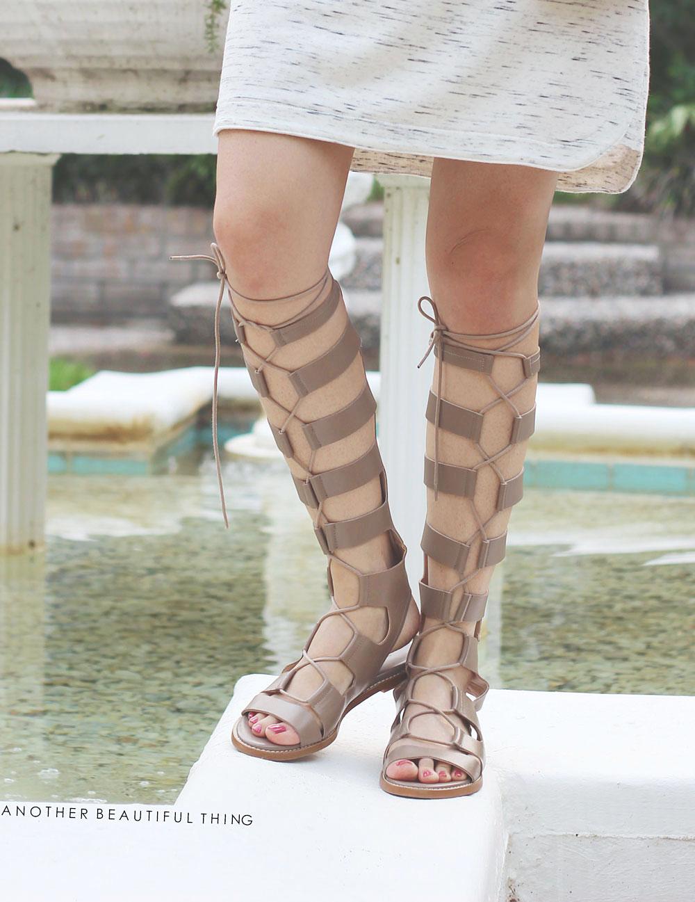 Zara leather lace up gladiator sandals