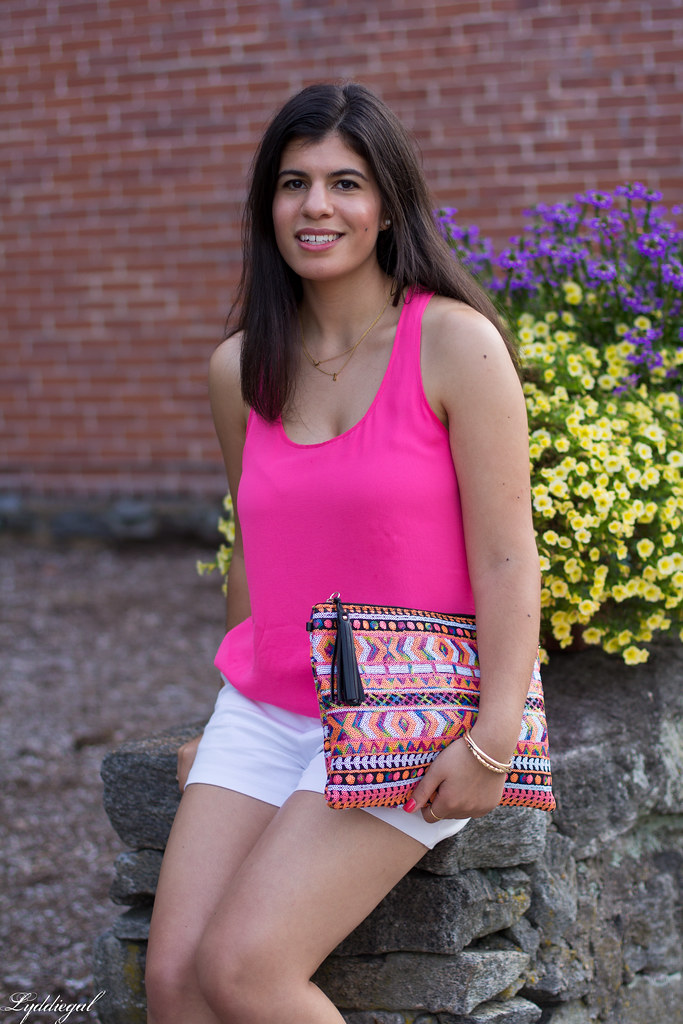 pink tank, white shorts, aztec sequin clutch-5.jpg