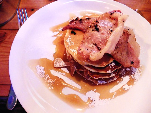 Pancakes with Bacon and Maple Syrup