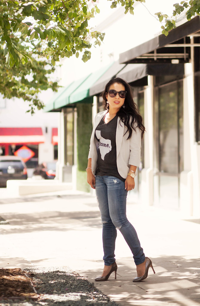 cute & little blog | petite fashion | the home t | texas state tee, gray blazer, distressed jeans | summer casual friday work outfit