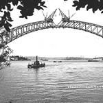 Car ferry Kedumba beneath the Sydney Harbour Bridge August 1930