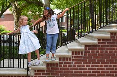 Angela And Gabriella On The Church Stairs