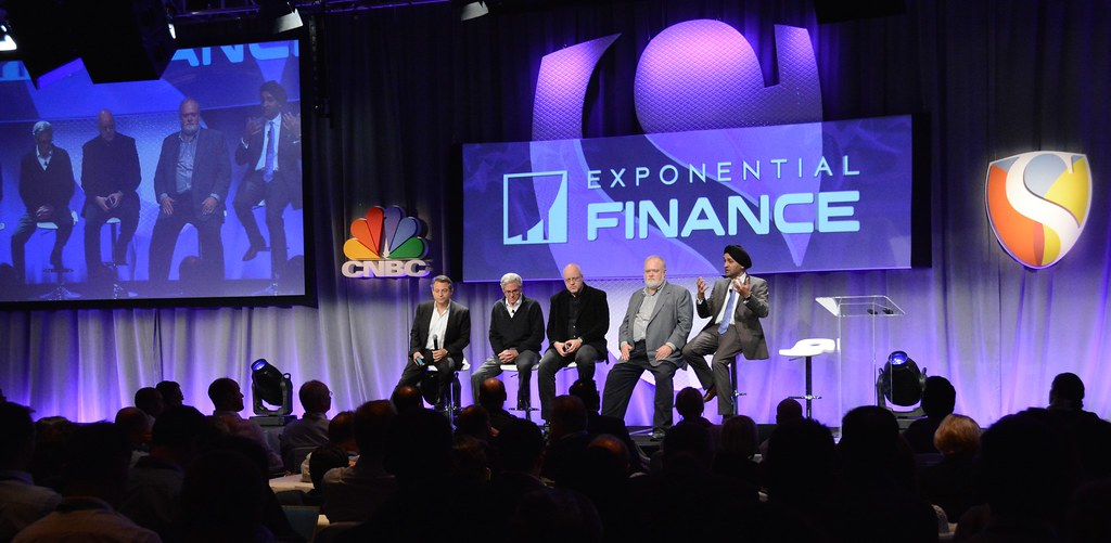 """CNBC's the Disruptors, Bob Pisani, Editor, CNBC """"On-Air-Stocks""""; Hardeep Walia, Founder & CEO Motif Investing;  Bill Harris, CEO, Personal Capital...Exponential Finance 2015 hosted by Singularity University"""