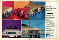 1974 General Motors Chevelle Laguna S-3 Cadillac Coupe deVille Pontiac Grand Am Advertisement Hot Rod February 1974