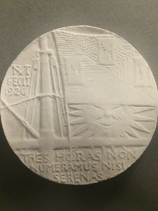 Three Hours for Lunch Club medal plaster by R Tait McKenzie