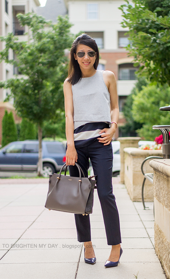 gray cropped vest, striped cami, navy pants, marine blue heels
