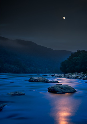 longexposure trees sky moon color nature water vertical night forest river dark landscape outdoors us rocks shadows unitedstates smooth nobody fullmoon westvirginia moonlight newriver newrivergorge thurmond