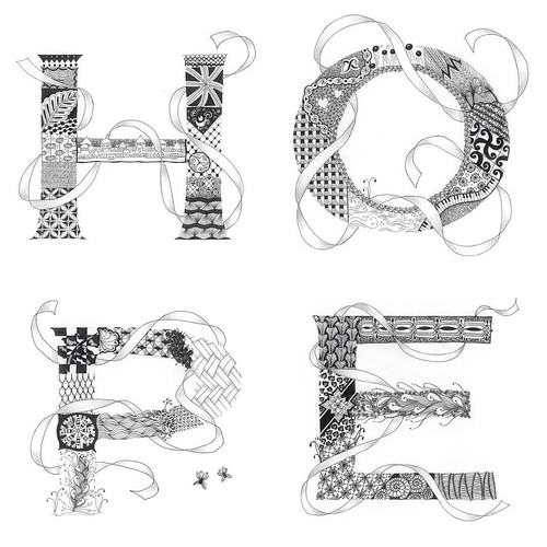 """""""Tangled Hope"""" by Laurel Regan, now available on Redbubble -  #zentangle #tangle #tangling #zia #alphabet #letters #monogram #hope #alphabetsalad #tenthousandt"""