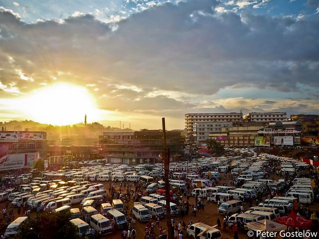 Kampala bus park at sunset