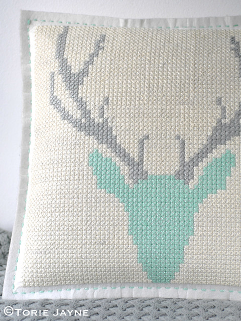 DIY cross stitch cushion 2