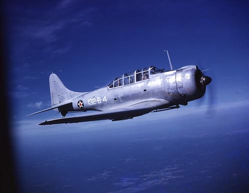 USMC Douglas SBD-1 Dauntless 132-B-4  from 132nd bombardment Squadron over Quantico VA. 1941.