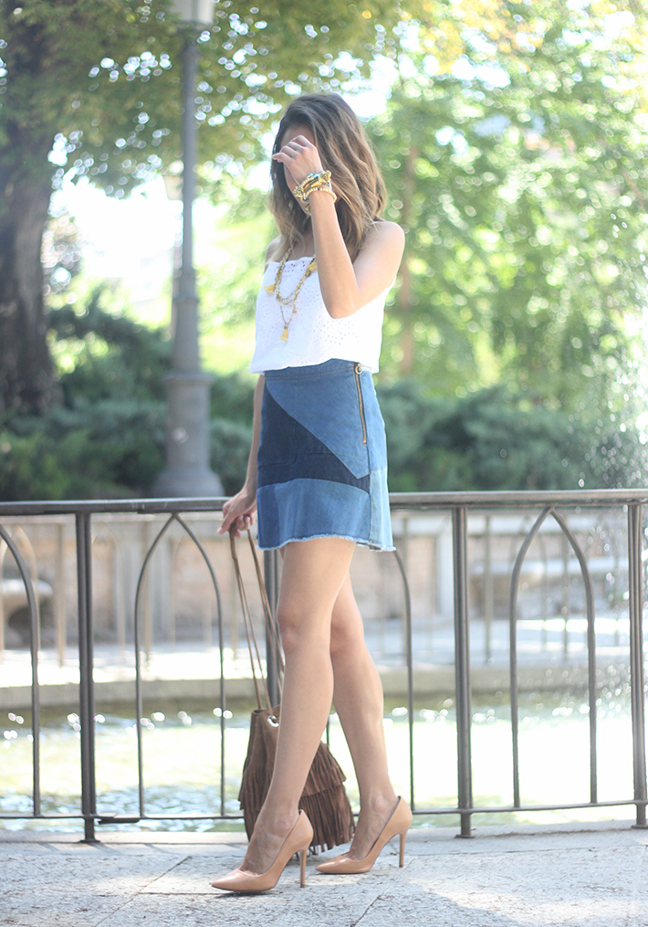 Denim Skirt White Top Outfit13