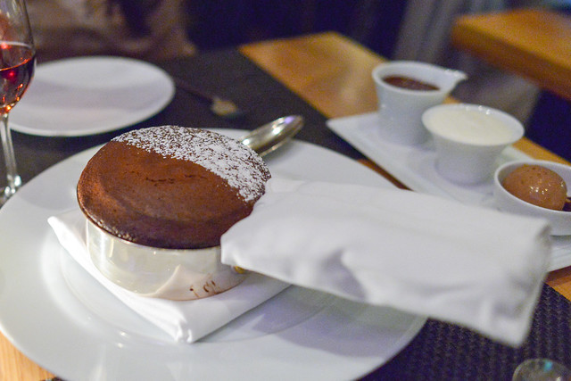 Dark Chocolate Soufflé Whipped Crème Fraiche, Gianduja Chocolate Ice Cream